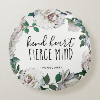 Kind Heart Fierce Mind Watercolor Floral Pillow