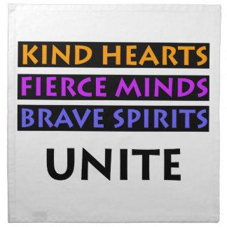 Kind Hearts, Fierce Minds, Brave Spirits Unite Napkin
