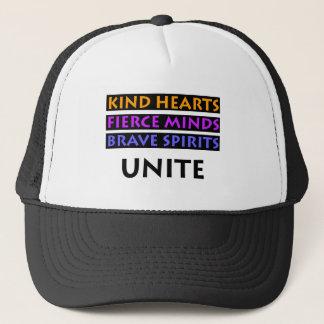 Kind Hearts, Fierce Minds, Brave Spirits Unite Trucker Hat