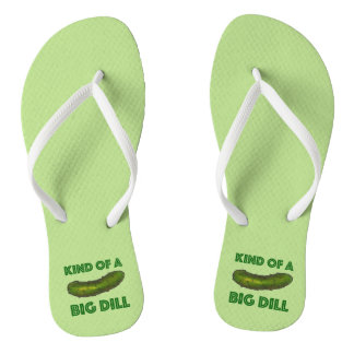 Kind of a Big Dill (Deal) Green Pickle Flip Flops