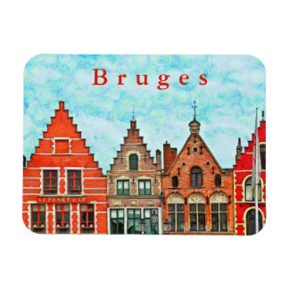 Kind of buildings in the market square of Bruges. Magnet