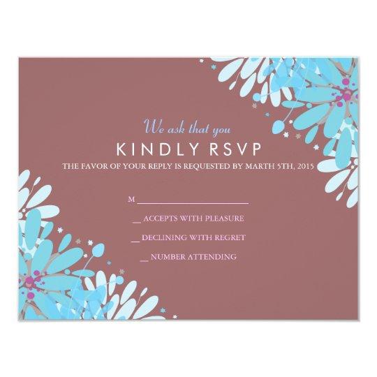 KINDA BLUE FLOWERS Bat Mitzvah Reply Card