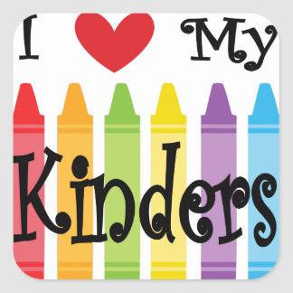 kinder teacher square sticker