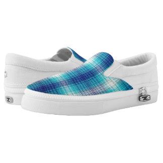 Kinderdykes Teal Plaid Printed Shoes