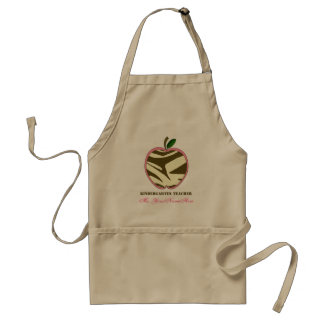 Kindergarten Apron - Brown Zebra Print Apple