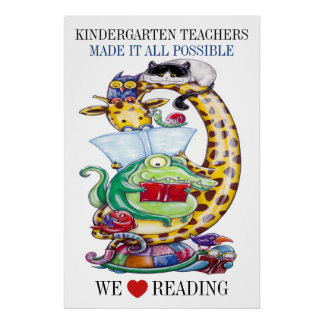 Kindergarten-Choose Size-We Love Reading! Poster