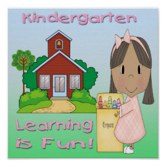 Kindergarten Ethnic Girl Learning is Fun Poster