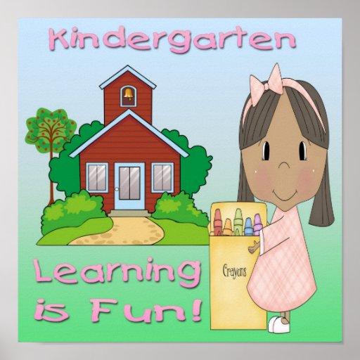 Kindergarten Ethnic Girl Learning is Fun Print
