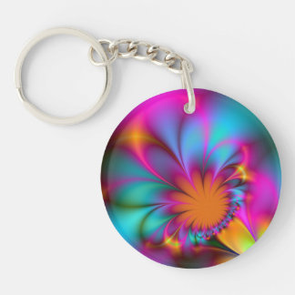 Kindergarten flower Single-Sided round acrylic key ring