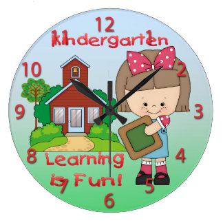 Kindergarten Girl Learning is Fun Round Wall Clock