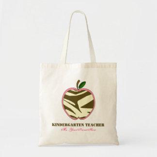 Kindergarten Teacher Bag - Brown Zebra Print Apple