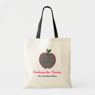 Kindergarten Teacher Bag- Houndstooth & Pink Apple