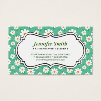 Kindergarten Teacher - Elegant Green Daisy Business Card