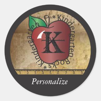 Kindergarten Teacher Rocks Vintage Style  DIY Name Round Sticker