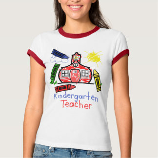 Kindergarten Teacher T Shirt- Schoolhouse & Crayon Shirts