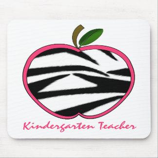 Kindergarten Teacher Zebra Print Apple Mousepads