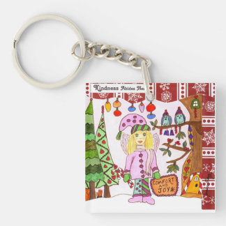 Kindness Abides Here Fairy Double-Sided Square Acrylic Keychain