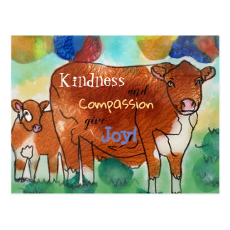 Kindness and Compassion, give joy, plant based Postcard