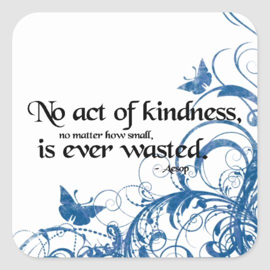 kindness butterfly swirl square sticker