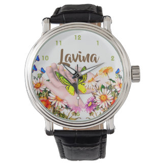 Kindness Custom Name Loving Hands Buttefly Watch