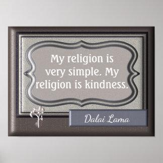 Kindness my religion - Dalai Lama quote - print