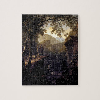 Kindred Spirits on Cliff in Woods - Durand Jigsaw Puzzle