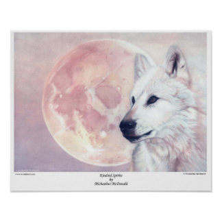 Kindred Spirits Wolf and Moon Poster