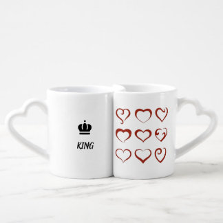King and Queen in love, unique hearts and crowns Coffee Mug Set