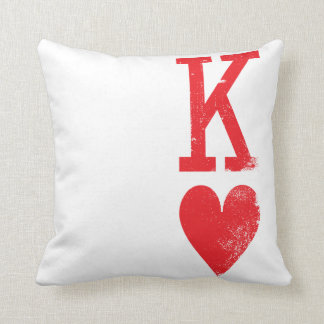 King and Queen of Hearts Playing Cards Couples Throw Cushions