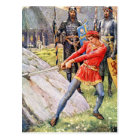 King Arthur draws the sword from the Stone Postcard