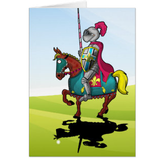 King Arthur medievil knight and horse Card