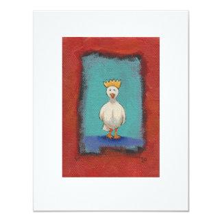 "King bird - fun expressive original painting art 4.25"" x 5.5"" invitation card"