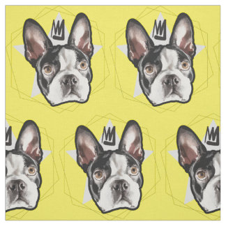 King Boston Terrier Pattern Fabric