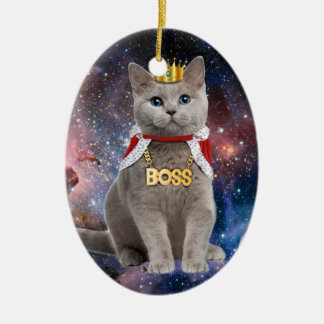 king cat in the space ceramic oval decoration