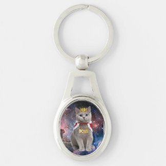 king cat in the space Silver-Colored oval key ring