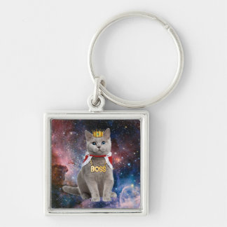 king cat in the space Silver-Colored square key ring