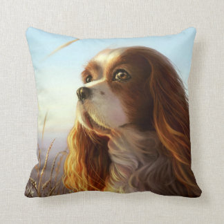 King Charles cavalier dog in autumn painting Cushion