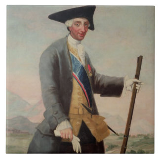 King Charles III (1716-88) as a Huntsman, 1786/88 Large Square Tile