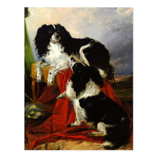 King Charles Spaniels - Dog Art - Richard Ansdell Postcard