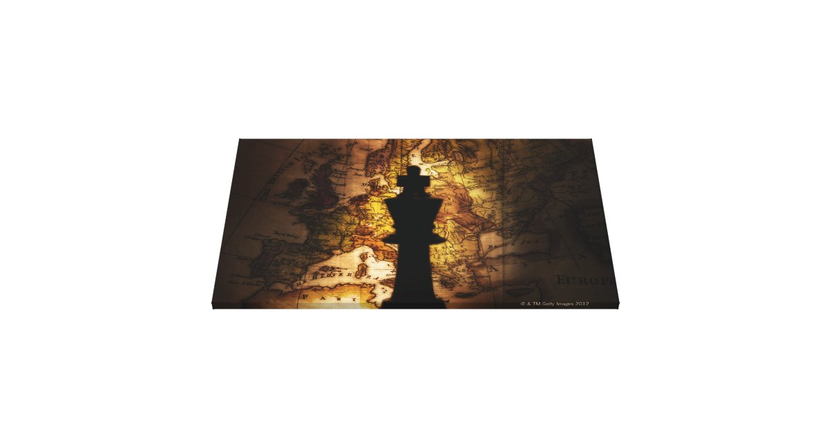 King chess piece on old world map canvas print zazzle