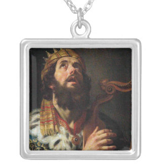 'King David Playing the Harp' Silver Plated Necklace
