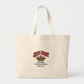 king deliverer all jc large tote bag