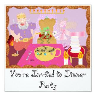 king dinner 5.25x5.25 square paper invitation card