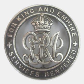 king & empire sticker. for ya rendered service round sticker