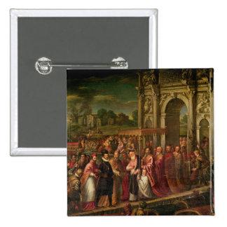 King Henri III  of France visiting Venice 15 Cm Square Badge