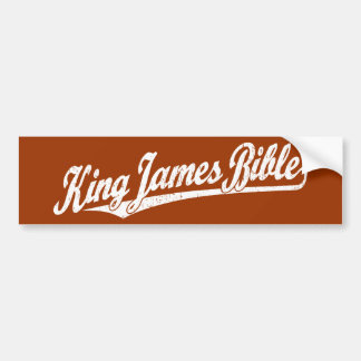 King James Bible Script Logo in white distressed Bumper Sticker