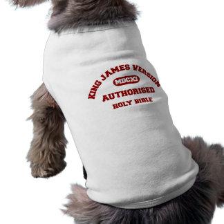 King James Version Authorised in red Sleeveless Dog Shirt