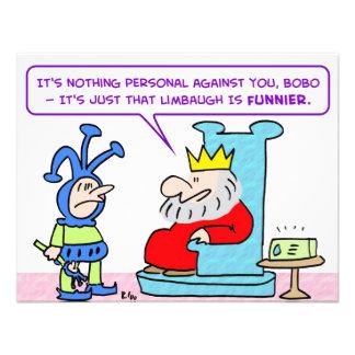 king jester limbaugh funnnier custom invitation