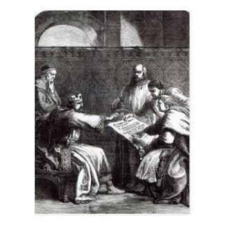 King John  refusing to sign Magna Charta Postcard