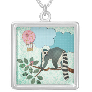 King Julian Out on a Limb Square Pendant Necklace